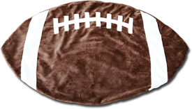 Brown and White Football Baby Blanket