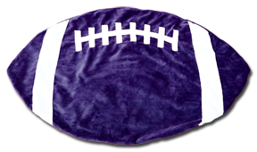 Purple and White Football Baby Blanket